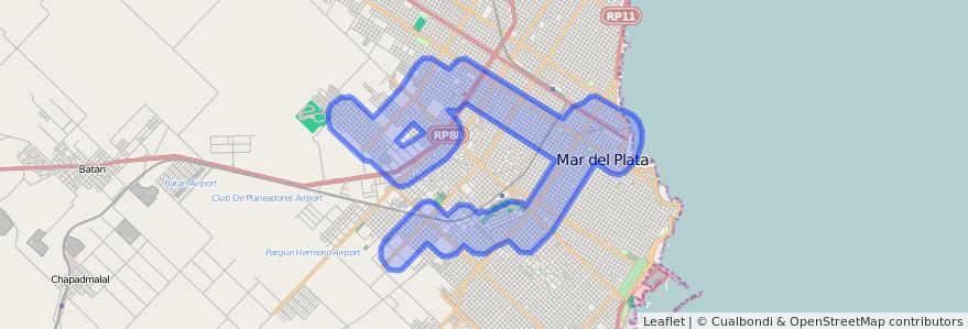 Cobertura de transporte público de la línea 573 en Mar del Plata.
