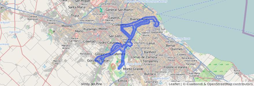 Cobertura de transporte público de la línea 86 en Argentina.