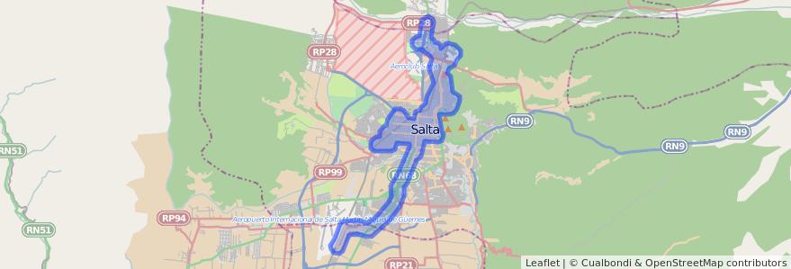 Cobertura de transporte público de la línea Corredor 5 en Salta.