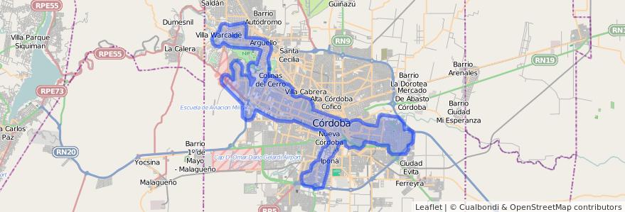 Cobertura de transporte público de la línea E (Celeste) en Municipio de Córdoba.