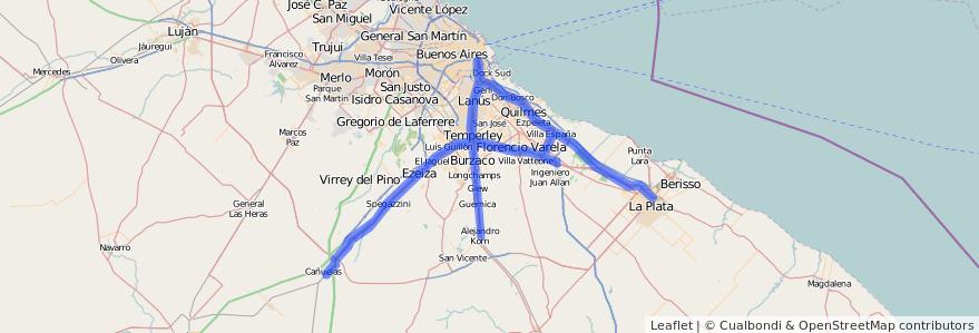 Cobertura de transporte público de la línea Ferrocarril General Roca en Buenos Aires.