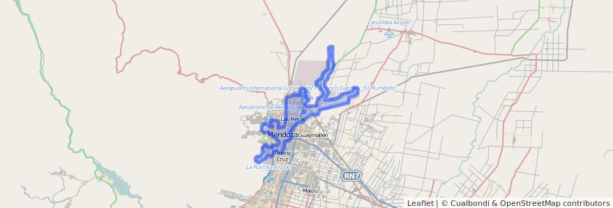 Cobertura de transporte público de la línea G06 en Mendoza.