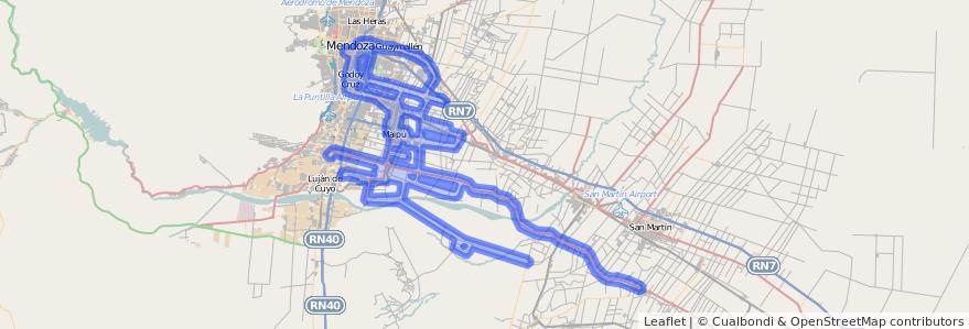 Cobertura de transporte público de la línea G10 en Mendoza.