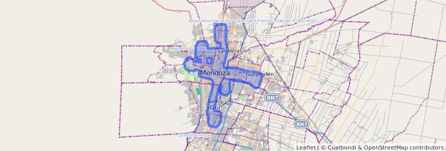 Cobertura de transporte público de la línea G12 en Mendoza.
