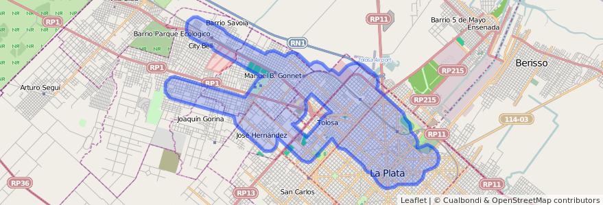 Cobertura de transporte público de la línea Norte en Partido de La Plata.