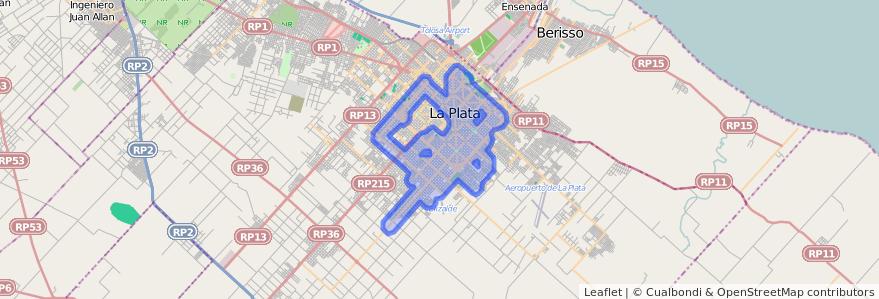 Cobertura de transporte público de la línea Sur en Partido de La Plata.