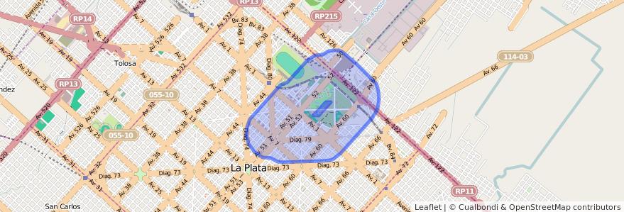 Cobertura de transporte público de la línea UTE en La Plata.