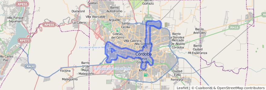Cobertura de transporte público de la línea V (Verde) en Municipio de Córdoba.