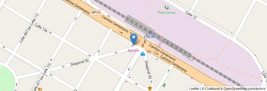Mapa de ubicacion de Agostini, City Bell en City Bell, Partido De La Plata, Buenos Aires, Argentina.