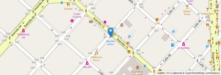 Mapa de ubicacion de Alquiler autos, Casco Urbano en La Plata, Partido De La Plata, Buenos Aires, Argentina.