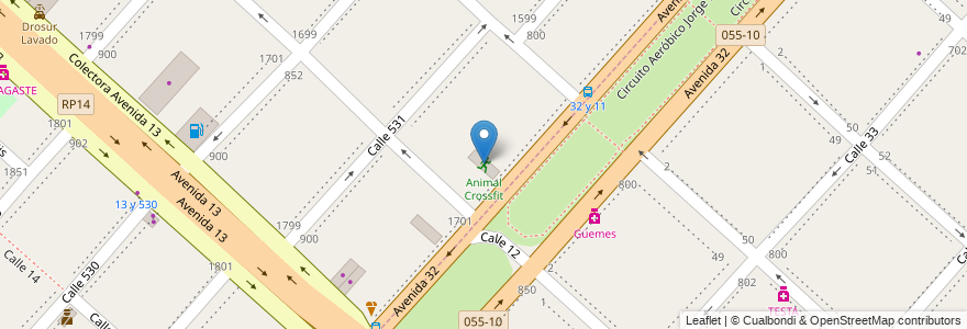 Mapa de ubicacion de Animal Crossfit, Tolosa en Argentina, Buenos Aires, Partido De La Plata.