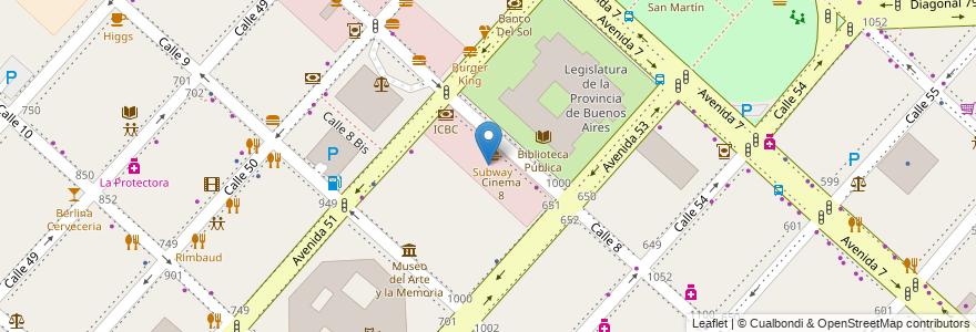 """Mapa de ubicacion de Area comercial """"Calle 8"""", Casco Urbano en La Plata, Partido De La Plata, Buenos Aires, Argentina."""