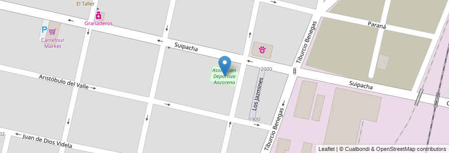 Mapa de ubicacion de Asociacion Deportiva Anzorena en Argentina, Chile, Mendoza, Departamento Capital, Ciudad De Mendoza.