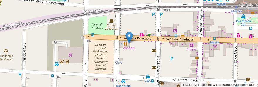 Mapa de ubicacion de Asociart en Argentina, Buenos Aires, Partido De Morón, Morón.