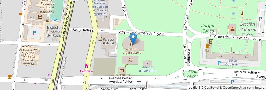 Mapa de ubicacion de Auditorio Angel Bustelo en Sección 2ª Barrio Cívico, Ciudad De Mendoza, Departamento Capital, Mendoza, Argentina.