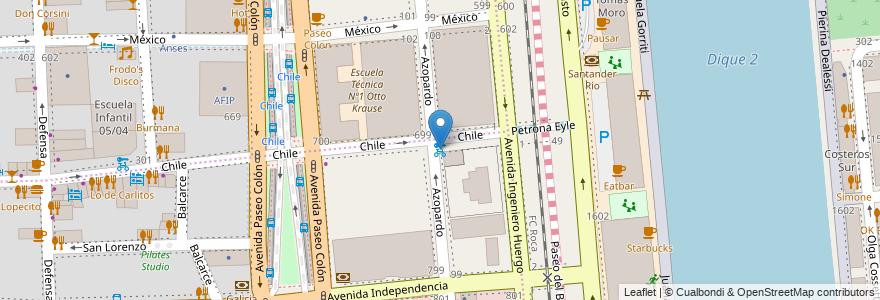 Mapa de ubicacion de Azopardo y Chile, San Telmo en Argentina, Ciudad Autónoma De Buenos Aires, Buenos Aires, Comuna 1.