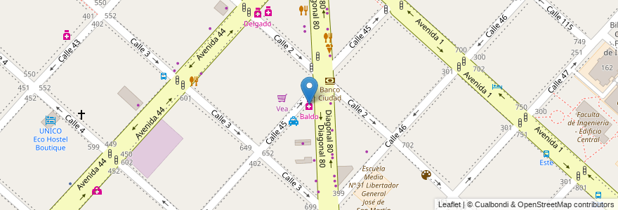 Mapa de ubicacion de Baldo, Casco Urbano en La Plata, Partido De La Plata, Buenos Aires, Argentina.