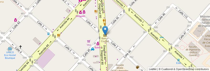 Mapa de ubicacion de Banco Ciudad, Casco Urbano en La Plata, Partido De La Plata, Buenos Aires, Argentina.