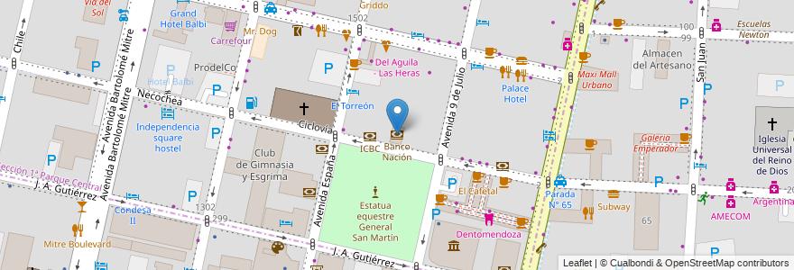 Mapa de ubicacion de Banco Nación en Argentina, Chile, Mendoza, Departamento Capital, Ciudad De Mendoza.