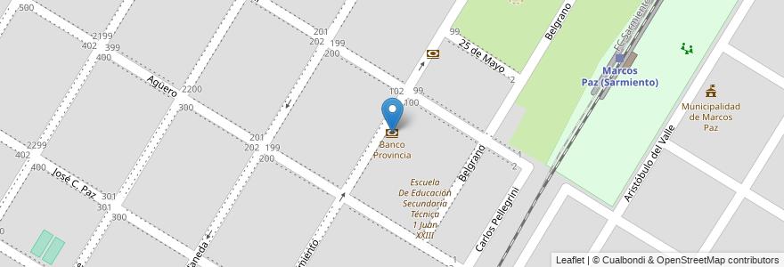Mapa de ubicacion de Banco Provincia en Argentina, Buenos Aires, Partido De Marcos Paz, Marcos Paz.