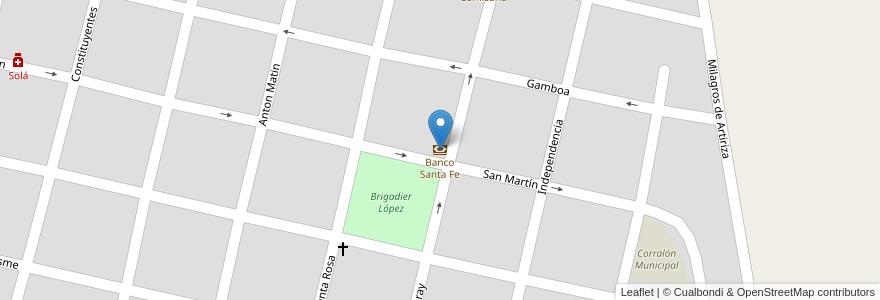 Mapa de ubicacion de Banco Santa Fe en San José Del Rincón, Municipio De San José Del Rincón, Departamento La Capital, Santa Fe, Argentina.