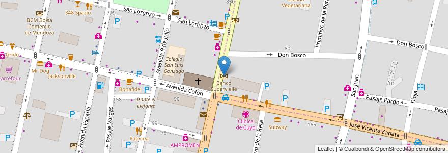 Mapa de ubicacion de Banco Supervielle en Argentina, Chile, Mendoza, Departamento Capital, Sección 2ª Barrio Cívico, Sección 3ª Parque O'Higgins, Ciudad De Mendoza.