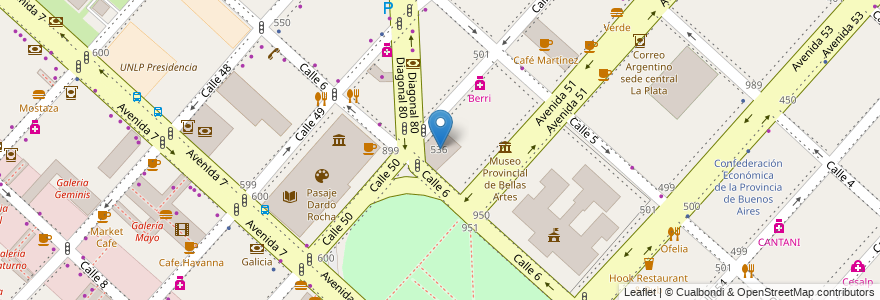 Mapa de ubicacion de Baxar Mercado, Casco Urbano en La Plata, Partido De La Plata, Buenos Aires, Argentina.