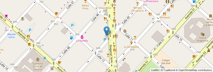 Mapa de ubicacion de Biblioteca López Merino, Casco Urbano en La Plata, Partido De La Plata, Buenos Aires, Argentina.
