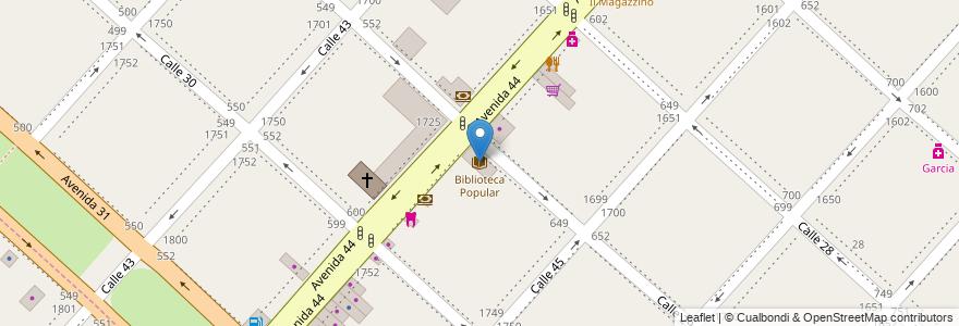 Mapa de ubicacion de Biblioteca Popular, Casco Urbano en La Plata, Partido De La Plata, Buenos Aires, Argentina.