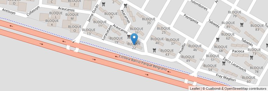 Mapa de ubicacion de BLOQUE 22 en Argentina, Salta, Capital, Salta, Municipio De Salta.