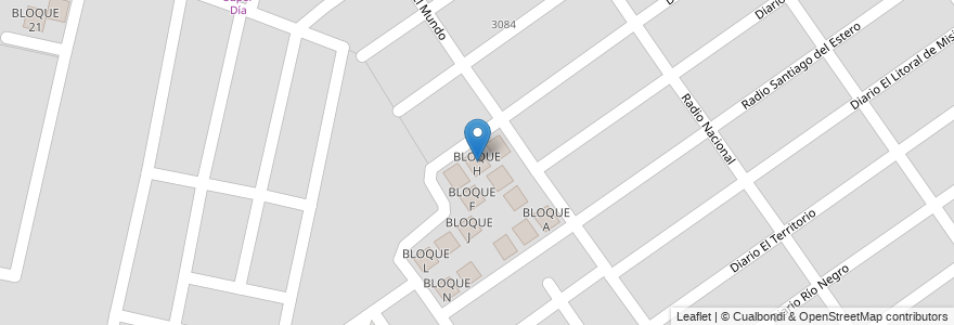 Mapa de ubicacion de BLOQUE H en Argentina, Salta, Capital, Municipio De Salta, Salta.
