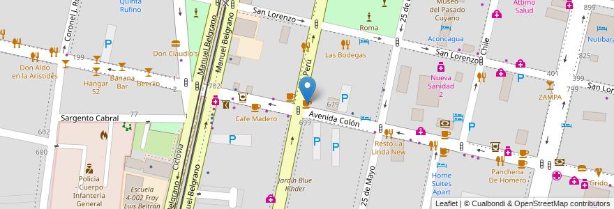 Mapa de ubicacion de Bocanada en Argentina, Mendoza, Departamento Capital, Sección 2ª Barrio Cívico, Ciudad De Mendoza.