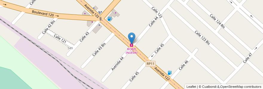 Mapa de ubicacion de BORZI (NUEVA) en Partido De Ensenada, Buenos Aires, Argentina.