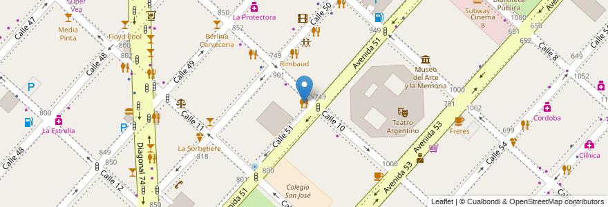 Mapa de ubicacion de Boutique de pizzas, Casco Urbano en La Plata, Partido De La Plata, Buenos Aires, Argentina.