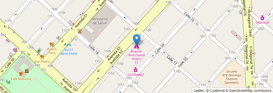Mapa de ubicacion de Buenos Aires Salud Anexo 57, Casco Urbano en La Plata, Partido De La Plata, Buenos Aires, Argentina.
