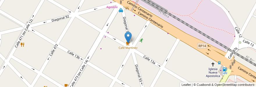 Mapa de ubicacion de Café Martínez, City Bell en City Bell, Partido De La Plata, Buenos Aires, Argentina.
