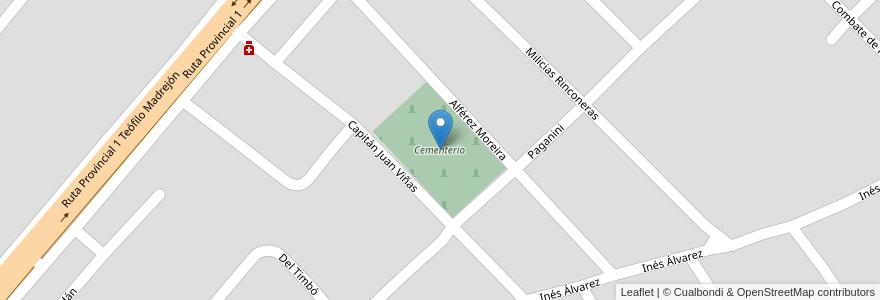 Mapa de ubicacion de Cementerio en San José Del Rincón, Municipio De San José Del Rincón, Departamento La Capital, Santa Fe, Argentina.