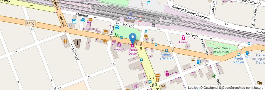 Mapa de ubicacion de Central Oeste en Argentina, Buenos Aires, Partido De Merlo, Merlo.