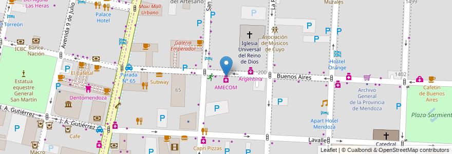 Mapa de ubicacion de Centro de Empleados de Comercio (CEC) en Argentina, Chile, Mendoza, Departamento Capital, Ciudad De Mendoza, Sección 3ª Parque O'Higgins.