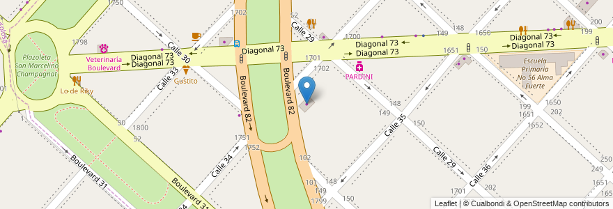 Mapa de ubicacion de Chapa Pintura, Casco Urbano en Argentina, Buenos Aires, Partido De La Plata, La Plata.