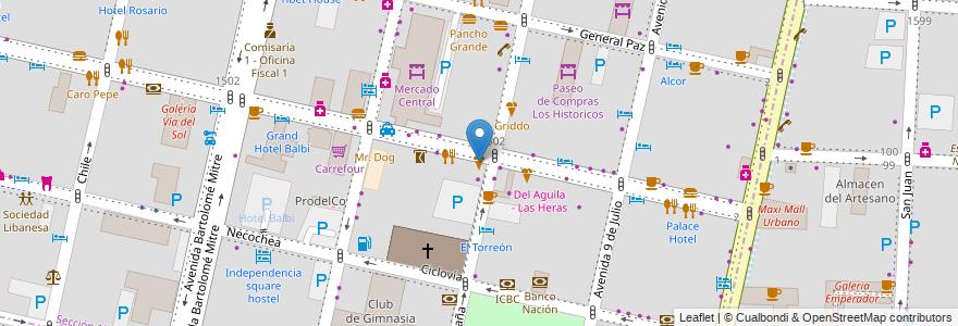 Mapa de ubicacion de Chini en Argentina, Chile, Mendoza, Departamento Capital, Ciudad De Mendoza.