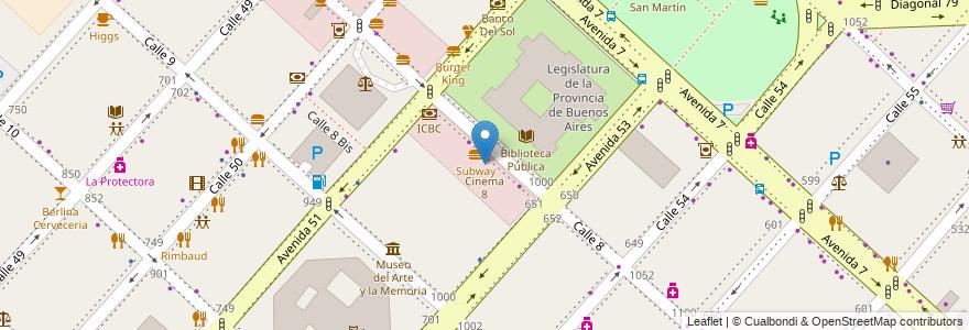Mapa de ubicacion de Cinema 8, Casco Urbano en La Plata, Partido De La Plata, Buenos Aires, Argentina.