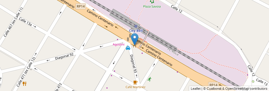 Mapa de ubicacion de City Bell, City Bell en City Bell, Partido De La Plata, Buenos Aires, Argentina.