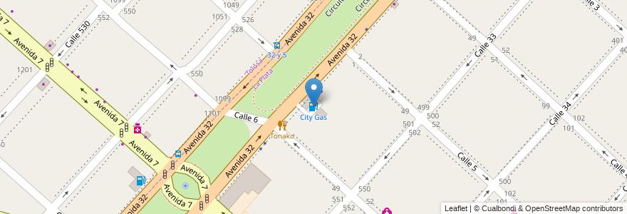 Mapa de ubicacion de City Gas, Casco Urbano en Argentina, Buenos Aires, Partido De La Plata.