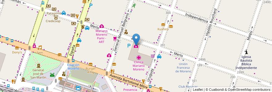 Mapa de ubicacion de Clínica de la Mujer en Argentina, Buenos Aires, Partido De Moreno, Moreno.
