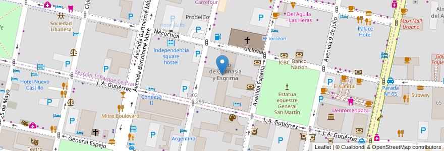 Mapa de ubicacion de Club de Gimnasia y Esgrima en Argentina, Chile, Mendoza, Departamento Capital, Ciudad De Mendoza.