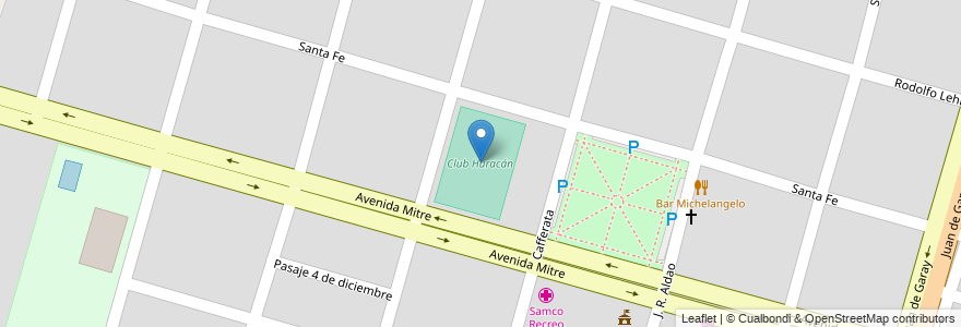 Mapa de ubicacion de Club Huracán en Argentina, Santa Fe, Departamento La Capital, Municipio De Recreo.