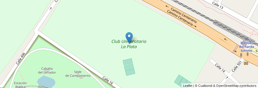 Mapa de ubicacion de Club Universitario La Plata, Gonnet en Argentina, Buenos Aires, Partido De La Plata, Manuel B. Gonnet.