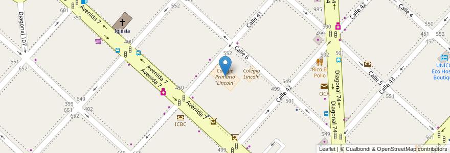 """Mapa de ubicacion de Colegio Primario """"Lincoln"""", Casco Urbano en Argentina, Buenos Aires, Partido De La Plata, La Plata."""