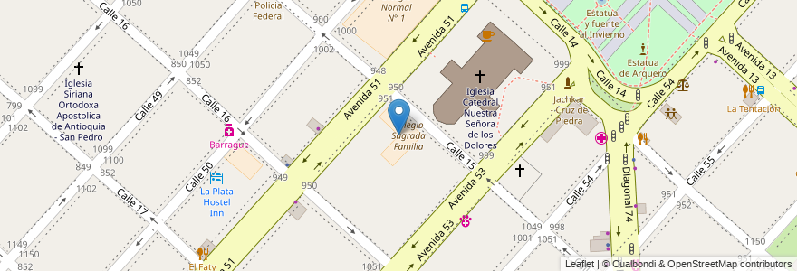 Mapa de ubicacion de Colegio Sagrada Familia, Casco Urbano en Argentina, Buenos Aires, Partido De La Plata, La Plata.